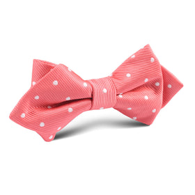 Coral Pink with White Polka Dots Diamond Bow Tie