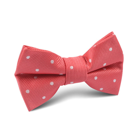 Coral Pink with White Polka Dots Kids Bow Tie