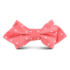 Coral Pink with White Polka Dots Kids Diamond Bow Tie