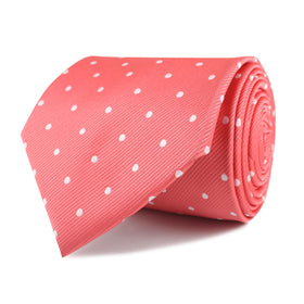 Coral Pink with White Polka Dots Necktie