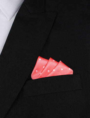 Coral Pink with White Polka Dots Pocket Square
