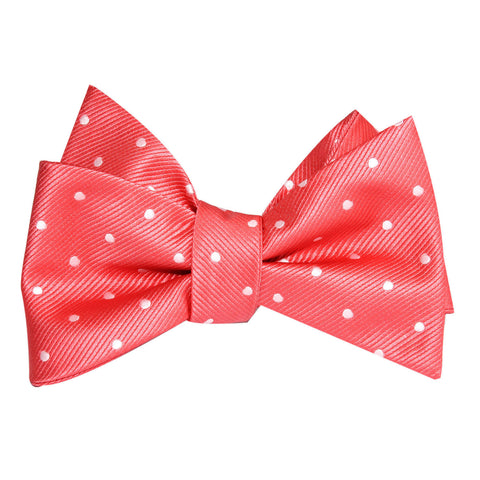 Coral Pink with White Polka Dots Self Tie Bow Tie