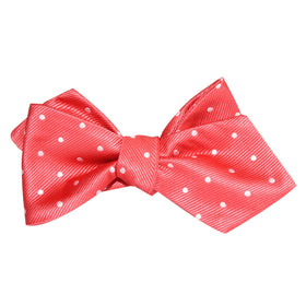 Coral Pink with White Polka Dots Self Tie Diamond Tip Bow Tie