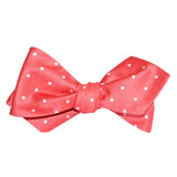 Coral Pink with White Polka Dots Self Tie Diamond Tip Bow Tie 2