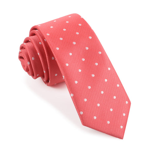 Coral Pink with White Polka Dots Skinny Tie