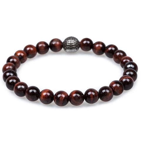 Corsair Red Tiger Eye Silver Skull Bracelet