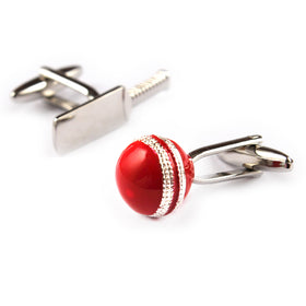 Cricket bat and ball cufflink