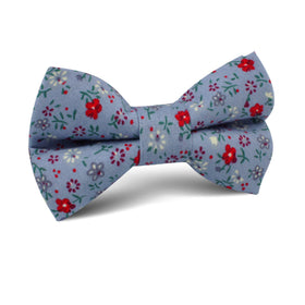 Crimson Rose Steel-Blue Floral Kids Bow Tie