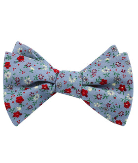 Crimson Rose Steel-Blue Floral Self Bow Tie