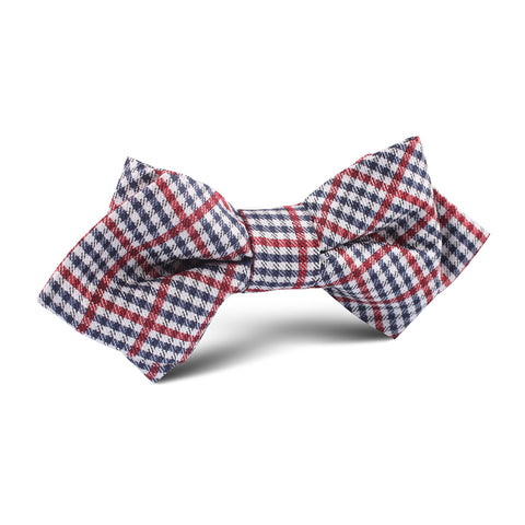 Crimson Gingham Diamond Bow Tie