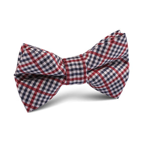 Crimson Gingham Kids Bow Tie