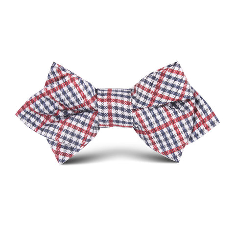 Crimson Gingham Kids Diamond Bow Tie