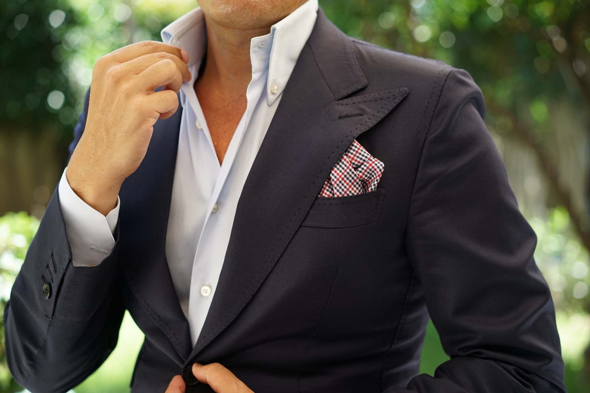 Crimson Gingham Pocket Square