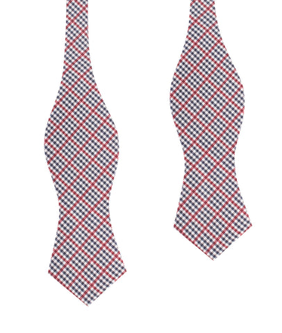 Crimson Gingham Self Tie Diamond Tip Bow Tie