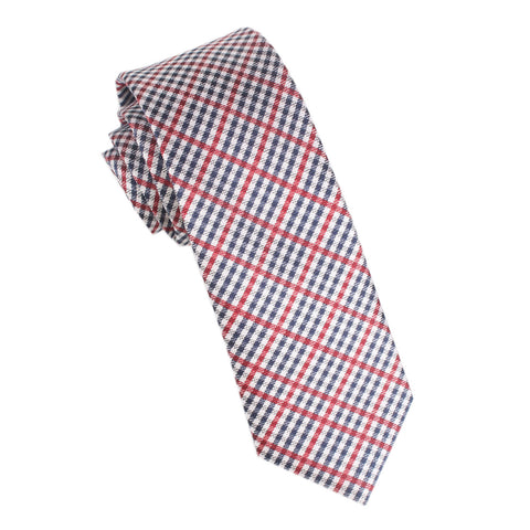 Red /& Grey Plaid Skinny Tie Midnight