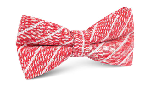 Crimson Red Linen Pinstripe Bow Tie
