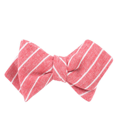 Crimson Red Linen Pinstripe Diamond Self Bow Tie