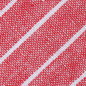Crimson Red Linen Pinstripe Diamond Bow Tie
