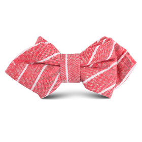 Crimson Red Linen Pinstripe Kids Diamond Bow Tie