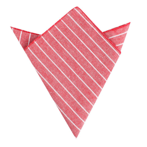 Crimson Red Linen Pinstripe Pocket Square