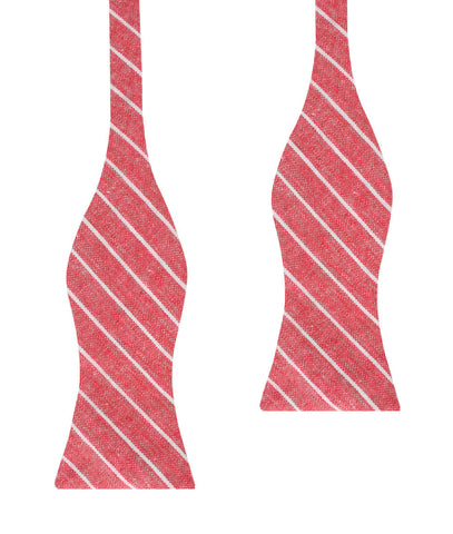 Crimson Red Linen Pinstripe Self Bow Tie