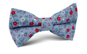 Crimson Rose Steel-Blue Floral Bow Tie