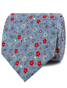 Crimson Rose Steel-Blue Floral Necktie
