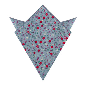Crimson Rose Steel-Blue Floral Pocket Square