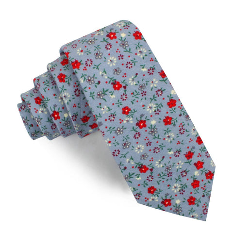 Crimson Rose Steel-Blue Floral Skinny Tie