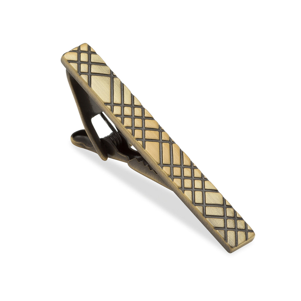 Crosshatch Brass Tie Bar