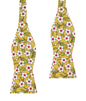 Cuban Marigold Floral Self Bow Tie