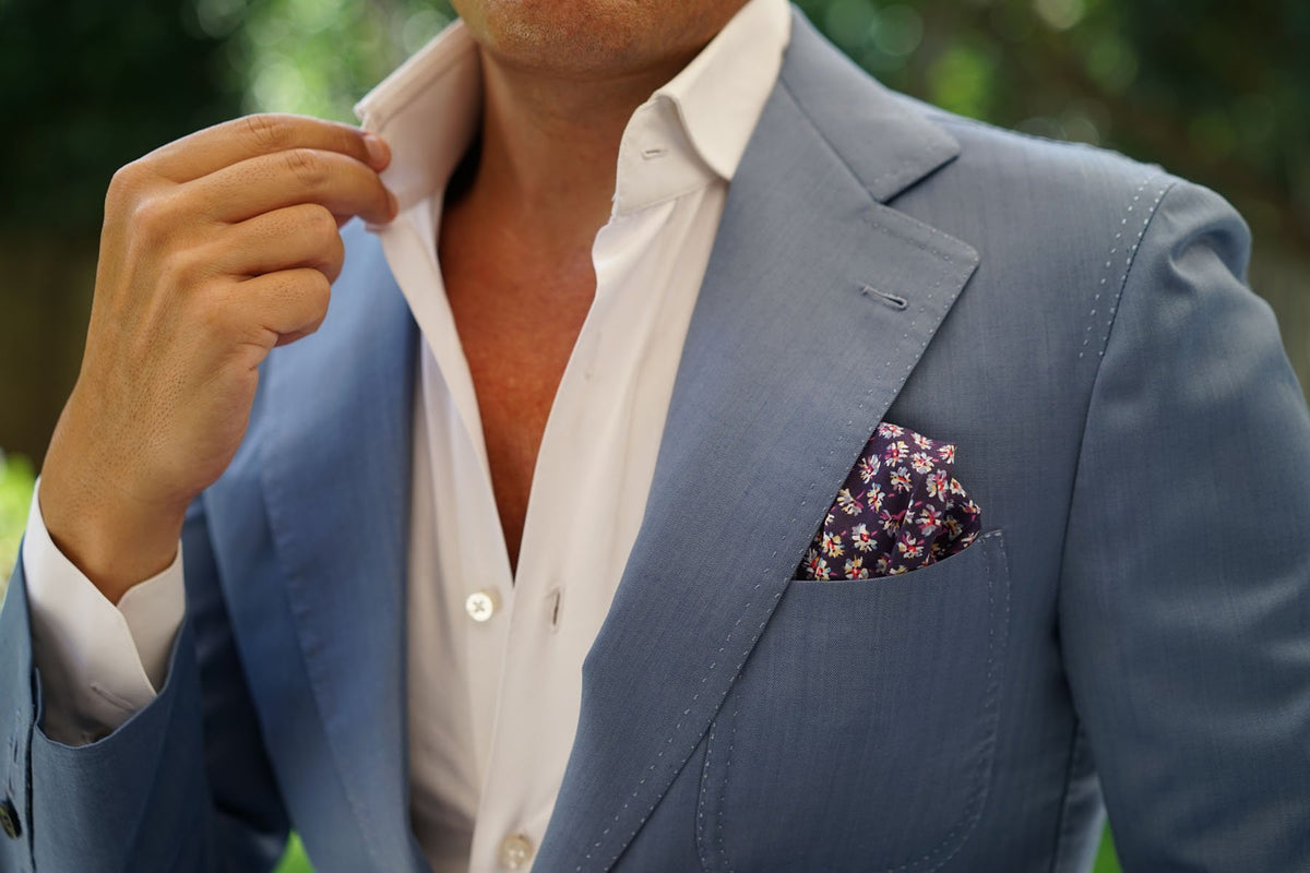 Culiacán Purple Floral Pocket Square