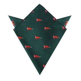 Culpeo Fox Dark Green Pocket Square