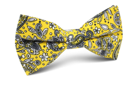 Cyrus Yellow Paisley Bow Tie