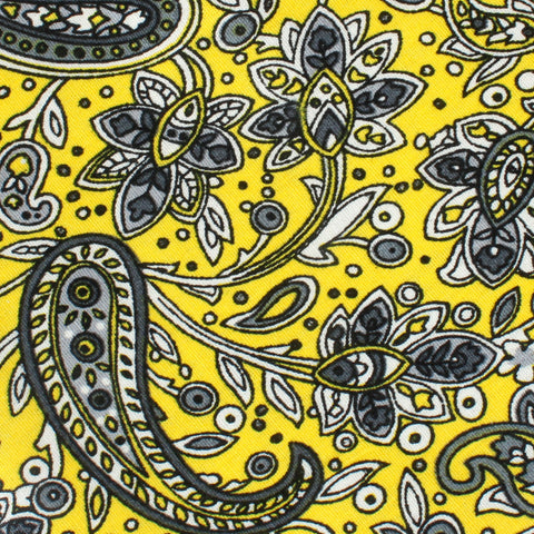 Cyrus Yellow Paisley Pocket Square