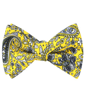 Cyrus Yellow Paisley Self Bow Tie