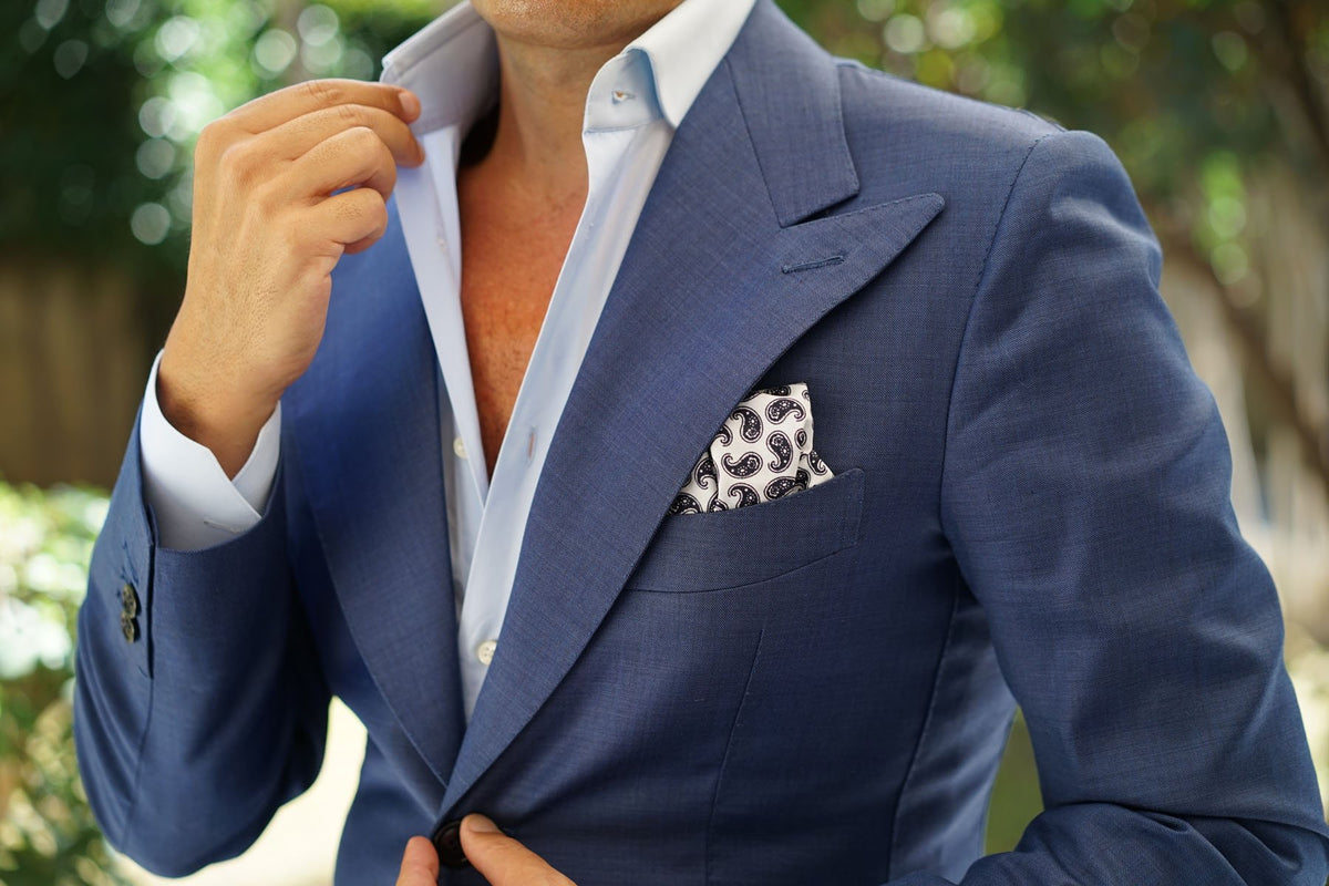 Picasso White on Blue Paisley Pocket Square