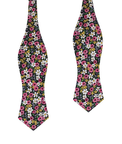 Daffodil Floral Diamond Self Bow Tie