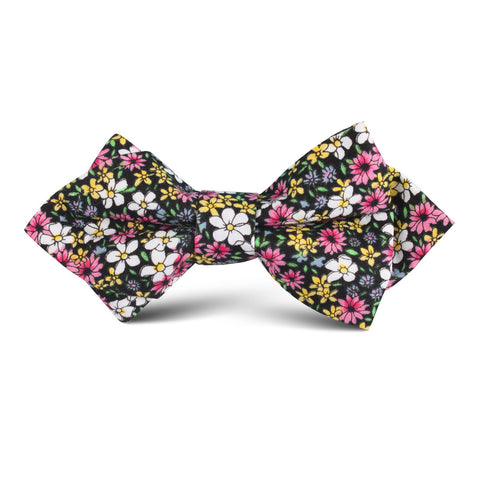Daffodil Floral Kids Diamond Bow Tie