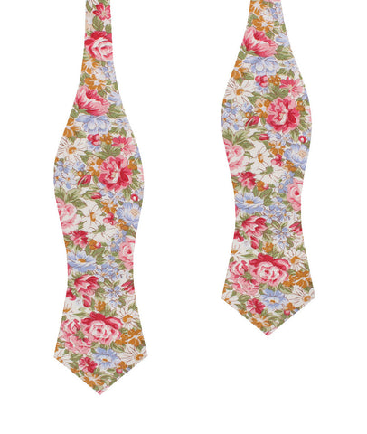 Daisy Floral Diamond Self Bow Tie