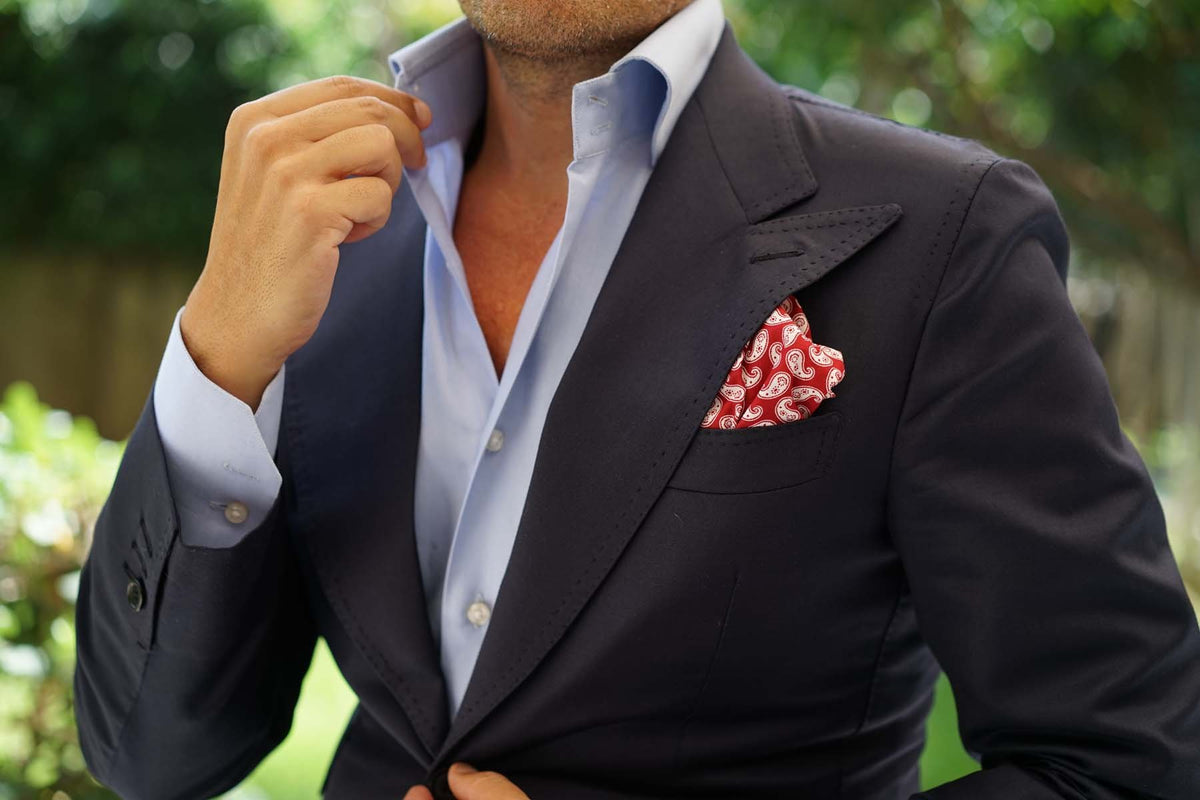 Danielre Red Paisley Pocket Square