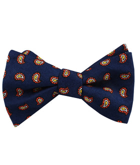 Darius the Great Midnight Blue Paisley Self Bow Tie