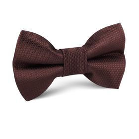 Dark Brown Basket Weave Kids Bow Tie