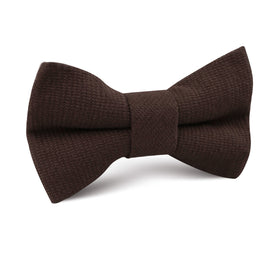 Dark Brown Truffle Linen Kids Bow Tie