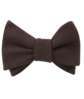 Dark Brown Truffle Linen Self Bow Tie