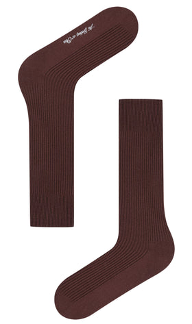 Dark Coffee Brown Ribbed Socks