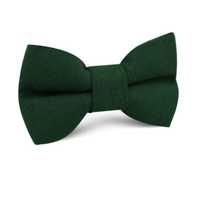 Dark Emerald Green Linen Kids Bow Tie