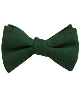 Dark Emerald Green Linen Self Bow Tie