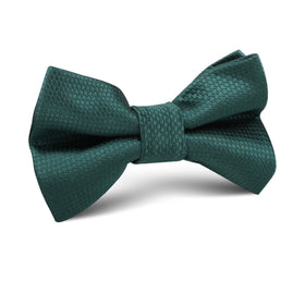 Dark Green Basket Weave Kids Bow Tie