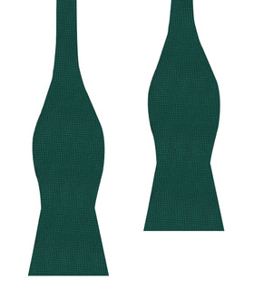 Dark Green Basket Weave Self Bow Tie